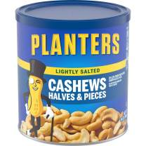 PLANTERS Lightly Salted Cashew Halves & Pieces, 14 oz Canisters (Pack of 3) - Cashews Roasted in Peanut Oil with Sea Salt - Snacks for Adults - Resealable Lid for Long-Lasting Freshness - Kosher