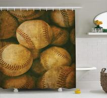 "Ambesonne Vintage Shower Curtain, Vintage Baseball Background American Sports Theme Nostalgic Leather Retro Balls Artwork, Cloth Fabric Bathroom Decor Set with Hooks, 84"" Long Extra, Brown Yellow"