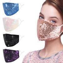 Rhinestone Sequin Bling Face Mask with Adjustable Ear Loops Lanyard Strap Clip for Women,Blue Sparkle Glitter Diamond Bedazzled Crystal Decorative Cloth Covering Washable Reusable