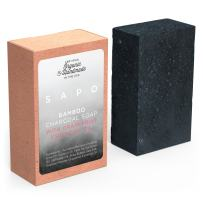 SAPO Bamboo Charcoal Soap Bar - Certified Organic Ingredients 100% Natural - Moisturizing Detoxifying Face & Body Cleanser - For Acne, Psoriasis, Eczema, Dry Sensitive Skin - USA Handmade - 4 Oz Each