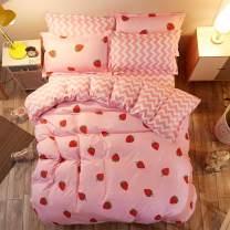 LAMEJOR Duvet Cover Set King Size Strawberry/Chevron Pattern Sweet Reversible Bedding Set Comforter Cover (1 Duvet Cover+2 Pillowcases) Pink