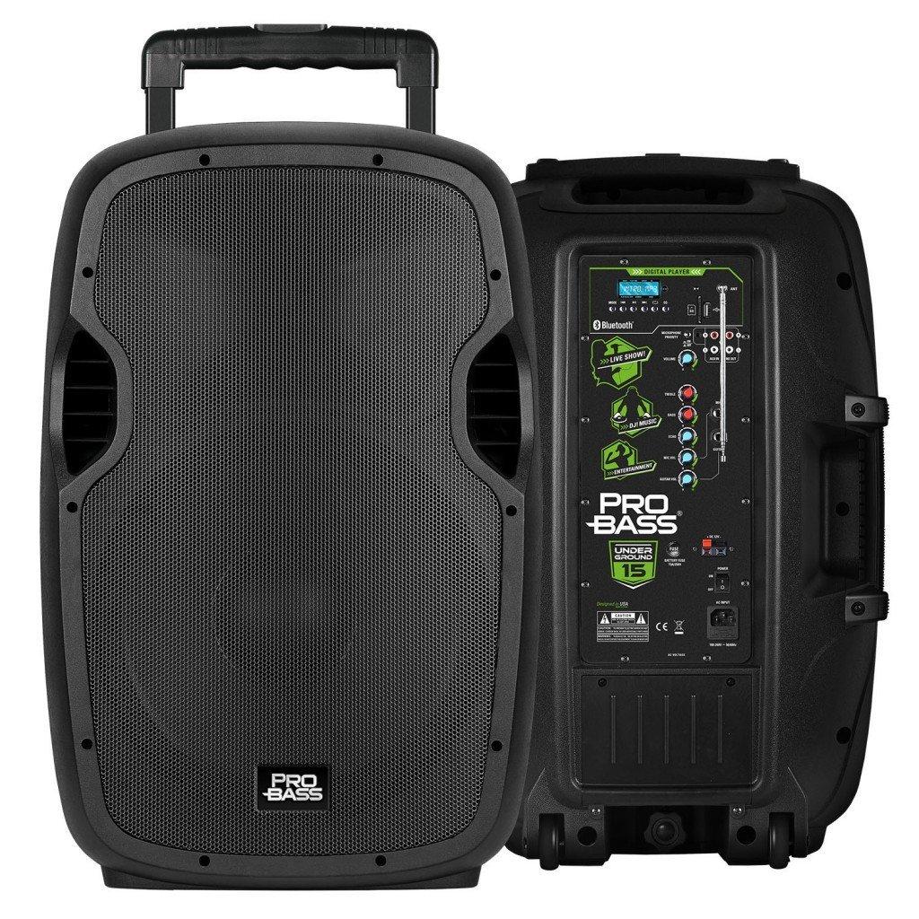 "Pro Bass Underground 15, Portable Battery Powered 15"" Loudspeaker, 1600W, Bluetooth, USB, MP3 Player"