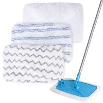 KEEPOW Large Surface Microfiber Flat Mop Refill Pads for Hardwood Laminate Tile Ceramic Floor Cleaning, Size 15 in x 8 in, Pack of 3