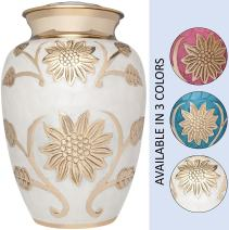 White and Gold Flower Funeral Urn by Liliane Memorials - Cremation Urn for Human Ashes - Brass- Suitable for Cemetery Burial or Niche- Large Size for Adults up to 200 lbs - Rose Lisette