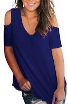Uvog Women's Summer T-Shirts Top Short Sleeve V Neck Tunic Tops Cold Shoulder Blouse Shirts