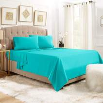 """Empyrean Bedding 14"""" - 16"""" Deep Pocket Fitted Sheet 4 Piece Set - Hotel Luxury Soft Double Brushed Microfiber Top Sheet - Wrinkle Free Fitted Bed Sheet, Flat Sheet and 2 Pillow Cases - Full, Teal"""