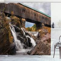 """Ambesonne Landscape Shower Curtain, Old Rustic Oak Covered Bridge Over Cascading Waterfalls Rock Fall Season American City, Cloth Fabric Bathroom Decor Set with Hooks, 75"""" Long, Brown White"""
