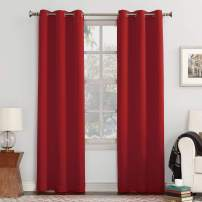 "Sun Zero Easton Blackout Energy Efficient Grommet Curtain Panel, 40"" x 95"", Red"