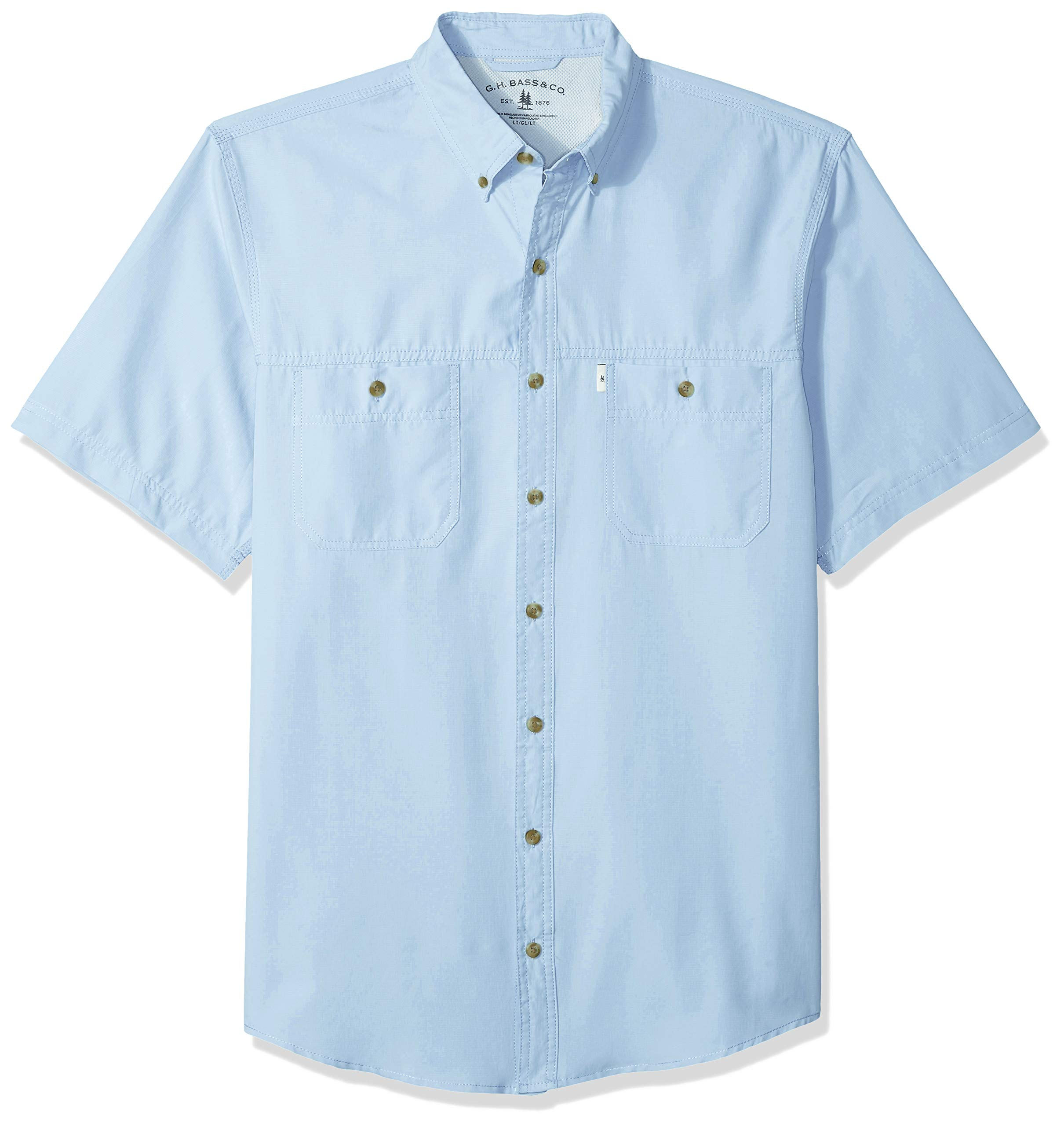 G.H. Bass & Co. Men's Big and Tall Explorer Short Sleeve Fishing Shirt Solid Button Pocket