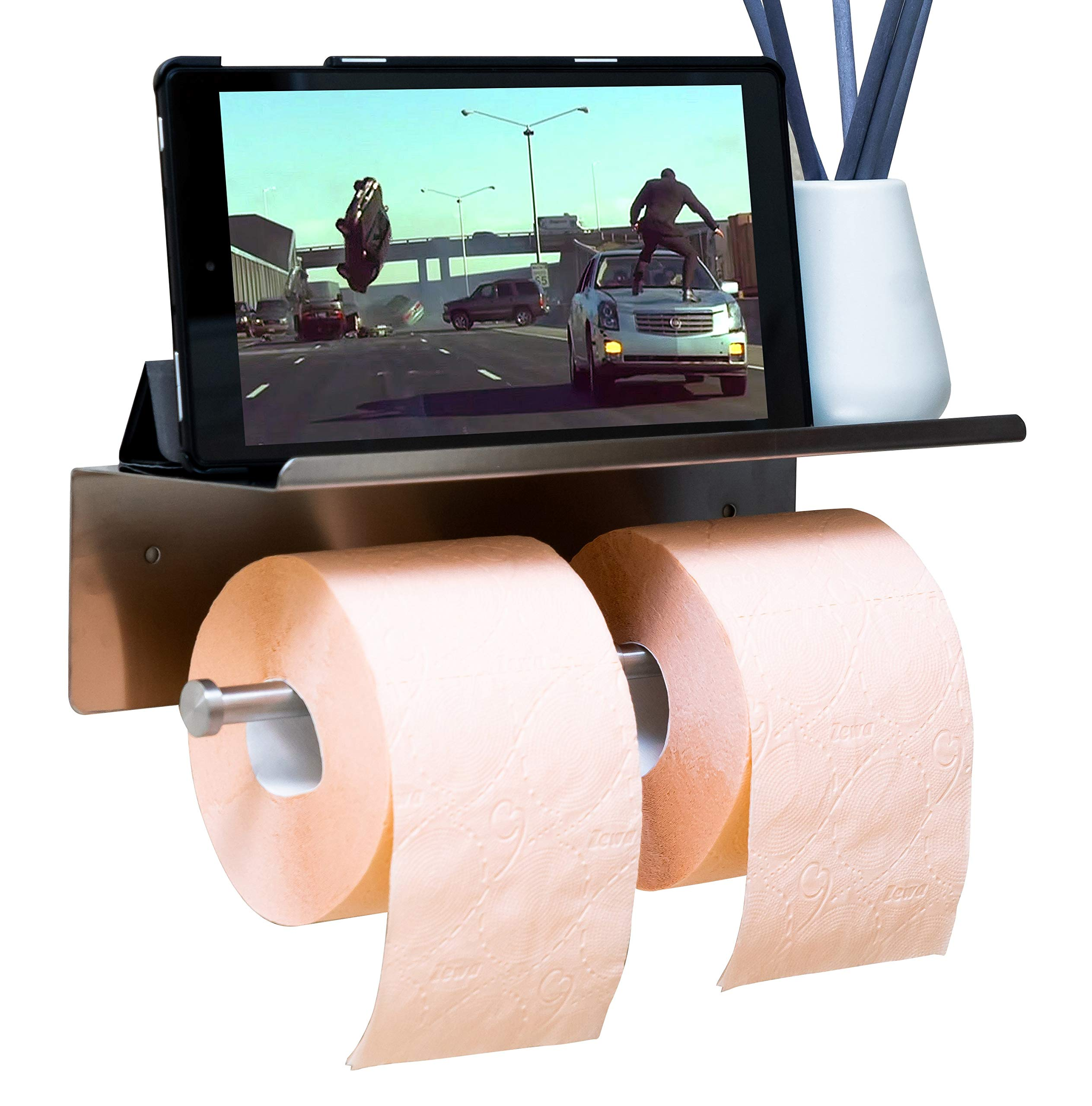 Double Toilet Paper Holder with Shelf - Wall Mounted-Brushed Nickel Self Adhesive Toilet Paper Holder with Phone Storage Rack, Bathroom accessories - Baby Wipes, Soap, Towel & Toothbrush Tray SS 304
