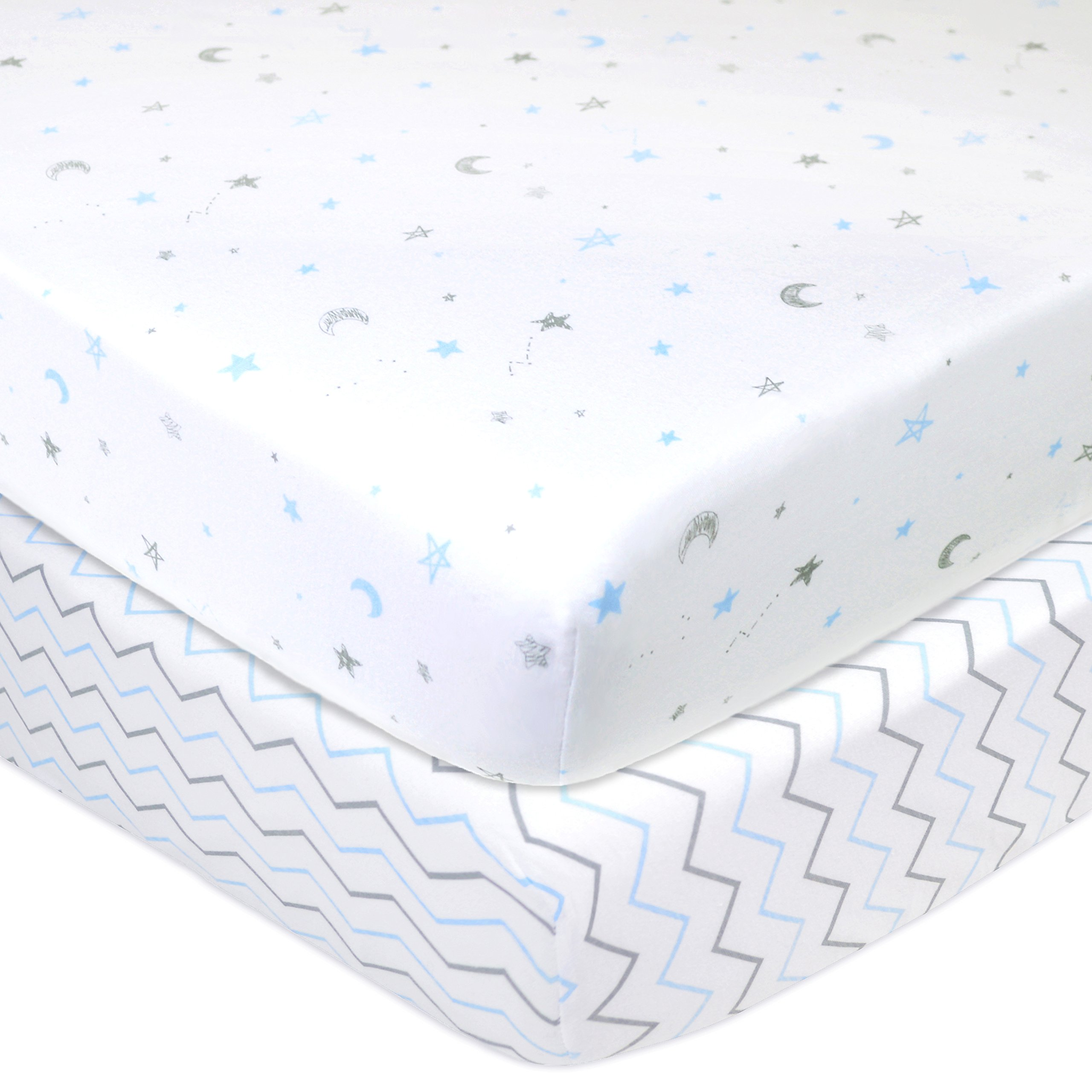 American Baby Company 2 Pack Printed 100% Cotton Jersey Knit Fitted Crib Sheet for Standard Crib and Toddler Mattresses, Blue Stars/Zigzag, for Boys and Girls