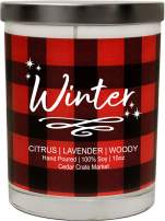 Cedar Crate Market Winter, Citrus, Lavender, Woody, Buffalo Plaid Christmas Scented Soy Candle, 10 Oz. Candle, Made in The USA, Decorative Holiday Candles, Best Smelling Christmas Candles for Home
