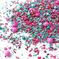 Mixed Berry Sprinkle Mix   Pink   Blue   Silver   Valentine's Day   Gender Reveal   Baby Shower   Heart Sprinkles, 4OZ