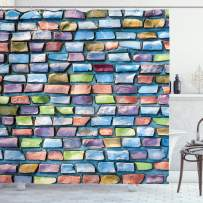 """Ambesonne Geometric Shower Curtain, Colorful Mosaic Tiles Pattern Brick Wall Design with Grunge Effect Worn Out Look, Cloth Fabric Bathroom Decor Set with Hooks, 84"""" Long Extra, Blue Coral"""