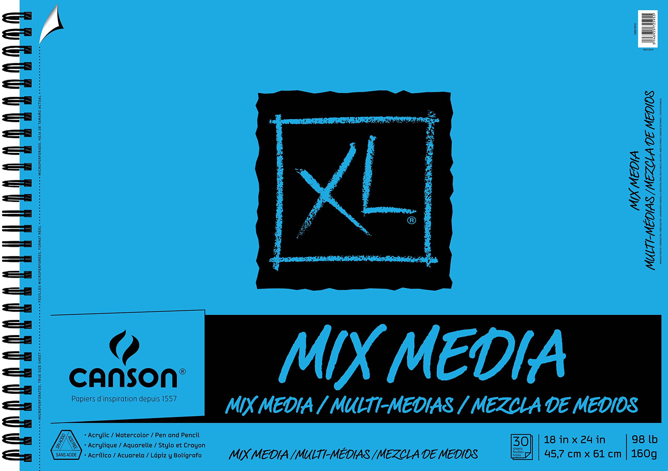 """Canson XL Series Mix Paper Pad, Heavyweight, Fine Texture, Heavy Sizing for Wet and Dry Media, Side Wire Bound, 98 Pound, 18 x 24 in, 30 Sheets, 18""""X24"""", 0"""