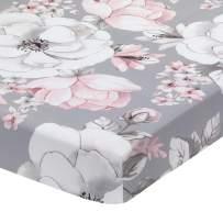 Lambs & Ivy Signature Botanical Baby Watercolor Floral Cotton Crib Sheet - Gray