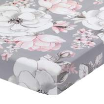 Lambs & Ivy Signature Botanical Baby Watercolor Floral Cotton Crib Sheet - Gray