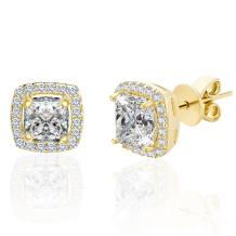 Lesa Michele Womens Cubic Zirconia Cushion Shaped Halo Stud Earring in Yellow Gold over Sterling Silver