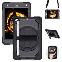 "iPad Mini 5 Case 2019,iPad Mini 4 2015 Case, GEEKSDOM Shockproof,360 Degree Swivel Foldable Kickstand,Adjustable Shoulder Strip&[Pencil Holder] Hand Strap for iPad Mini 5th/4th Generation 7.9""(Black"