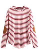 Milumia Women's Elbow Patch Striped High Low Top T-Shirt