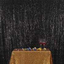 Poise3EHome Sequin Photo Booth Backdrop 4Ftx7Ft Sparkly Background Wedding Party Curtain, Black