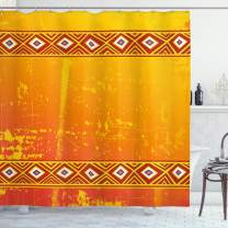 "Ambesonne African Shower Curtain, Theme Grunge Ornaments with Geometric Pattern Print, Cloth Fabric Bathroom Decor Set with Hooks, 70"" Long, Marigold Orange"