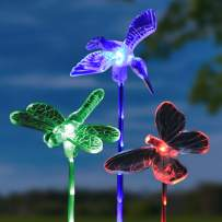 """Exhart Solar Clear Acrylic Garden Stakes: Red Butterfly, Blue Hummingbird & Green Dragonfly - Set of 3 Yard Stake Decor Lights for Garden Pathway, Driveway & Yard 3"""" L x 3"""" W x 24"""" H"""