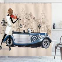 "Ambesonne Urban Shower Curtain, Hand Drawn Illustration of Street Musician Retro Cars and Old Buildings Vİntage, Cloth Fabric Bathroom Decor Set with Hooks, 70"" Long, Beige Brown"