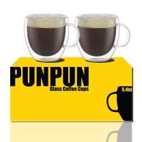 Shot Glass Coffee Cups 6.7 oz. 200ml, Set of 2, Double Wall Insulated Glasses Clear Coffee Cups, Glass Coffee Mugs,Espresso Cups Set, Heatproof Insulating Clear Glass Mug with Handle Clear Coffee Cups