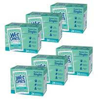 Wet Ones Sensitive Skin Hand and Face Wipes, Unscented, 24 Individually Wrapped Wipes (Pack of 6), Packaging May Vary