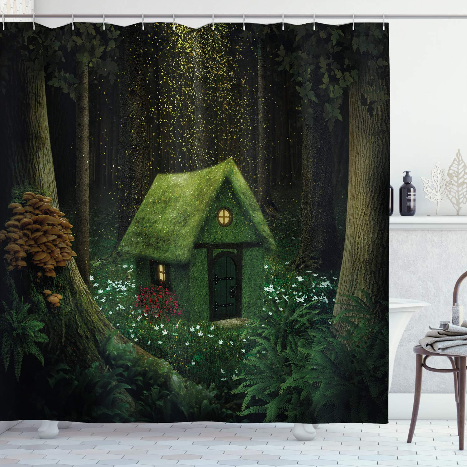 """Ambesonne Fantasy Shower Curtain, Surreal Little Forest House in Moss Enchanted Woodland Elves Design, Cloth Fabric Bathroom Decor Set with Hooks, 70"""" Long, Hunter Green"""