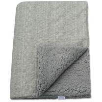 BlueSnail Soft Premium Knit Baby Blanket Throw with Double Sherpa Fleece Layer for Boys and Girls (Light Gray+Light Gray, 30' 40')