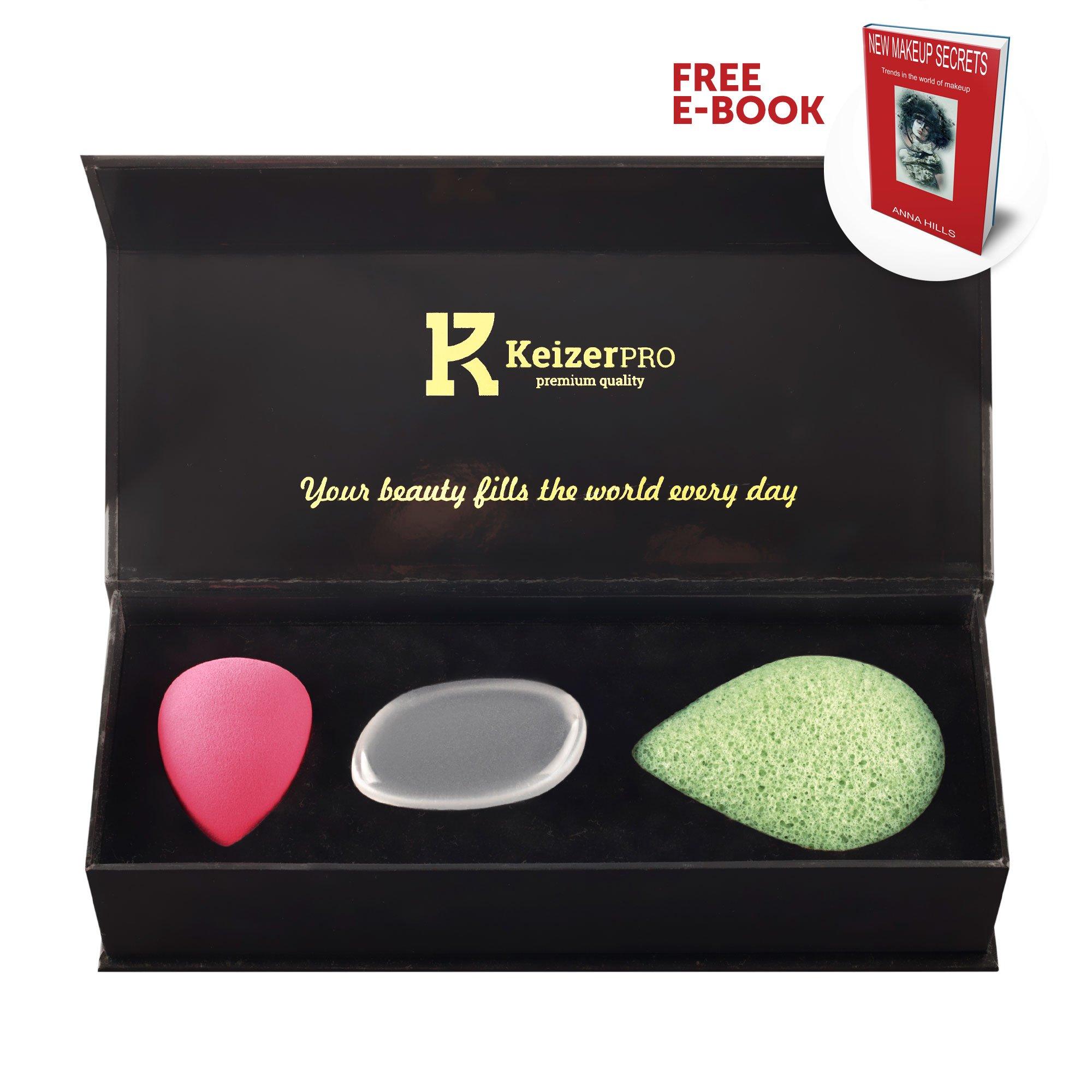 KeizerPro Premium Makeup Sponge Set - 3 in 1 Natural Makeup sponges for Professional Makeup - Konjac Sponge - Silicone Make up Sponge - Makeup Blender - Cosmetic Face Sponge with Gift Box