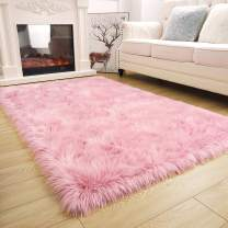 ISEAU Soft Faux Fur Fluffy Area Rug, Luxury Fuzzy Sheepskin Carpet Rugs for Bedroom Living Room, Shaggy Silky Plush Carpet Bedside Rug Floor Mat, 4ft x 5.9ft, Pink