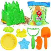 TOY Life Sand Toys for Kids Toddlers 3-10 - 9 Beach Toys Includes Beach Sand Castle Bucket,Toy Shovel, Toy Sifter, Rake, and Sand Castle Toys for Beach - Sandbox Toys Set with Waterproof Carrying Net