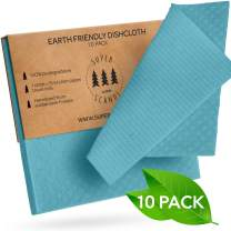 SUPERSCANDI Swedish Dishcloths Eco Friendly Reusable Sustainable Biodegradable Cellulose Sponge Cleaning Cloths for Kitchen Dish Rags Washing Wipes Paper Towel Replacement Washcloths (10 Pack Green)
