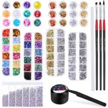 Cridoz 8420 Pcs Rhinestones for Nails, Nail Rhinestones Crystals Nail Gems Jewels Diamond with Nail Gel Glue for Nails Art Supplies Decoration Clothes Shoes