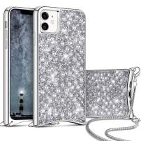 Aemotoy for iPhone 11 Luxury Shiny Rhinestone Case with Crossbody Chain Slim Glitter Diamond Shell Crystal Protective Hybrid Soft TPU Armor Back Cover for 6.1 inch iPhone 11 Silver