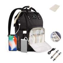 ComfyDegree Nappy Changing Organizer Bag Large Capacity Diaper Baby Travel Backpack with USB Charging Port, 3x Insulated Bottle Warmer Pockets and Waterproof Fabric Features for Mom and Dad (Black)