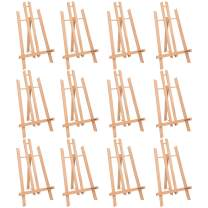 """MEEDEN 16"""" Tall Tabletop Easel - 12PCS Medium Tabletop Display Solid Beech Wood Easel, for Kids Artist Adults Classroom/Parties Painting Display, Standing Easel, Hold Canvas Art up to 16"""" High"""