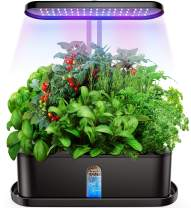 Elechome Hydroponics Growing System, Smart Indoor Herb Garden 10 Pots Plant Germination Kits, Automatic Timer, Adjustable Height, Indoor Garden Kits for Home Kitchen, Smart Garden Planter(Black)