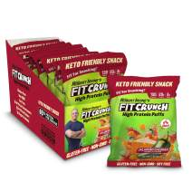 Fit Crunch Low Carb Protein Puffs, Keto-Friendly High Protein Puff Snack, Low Sugar, Non-GMO, Gluten Free & 20g of Protein (8 Bags, Jalapeno Cheddar)