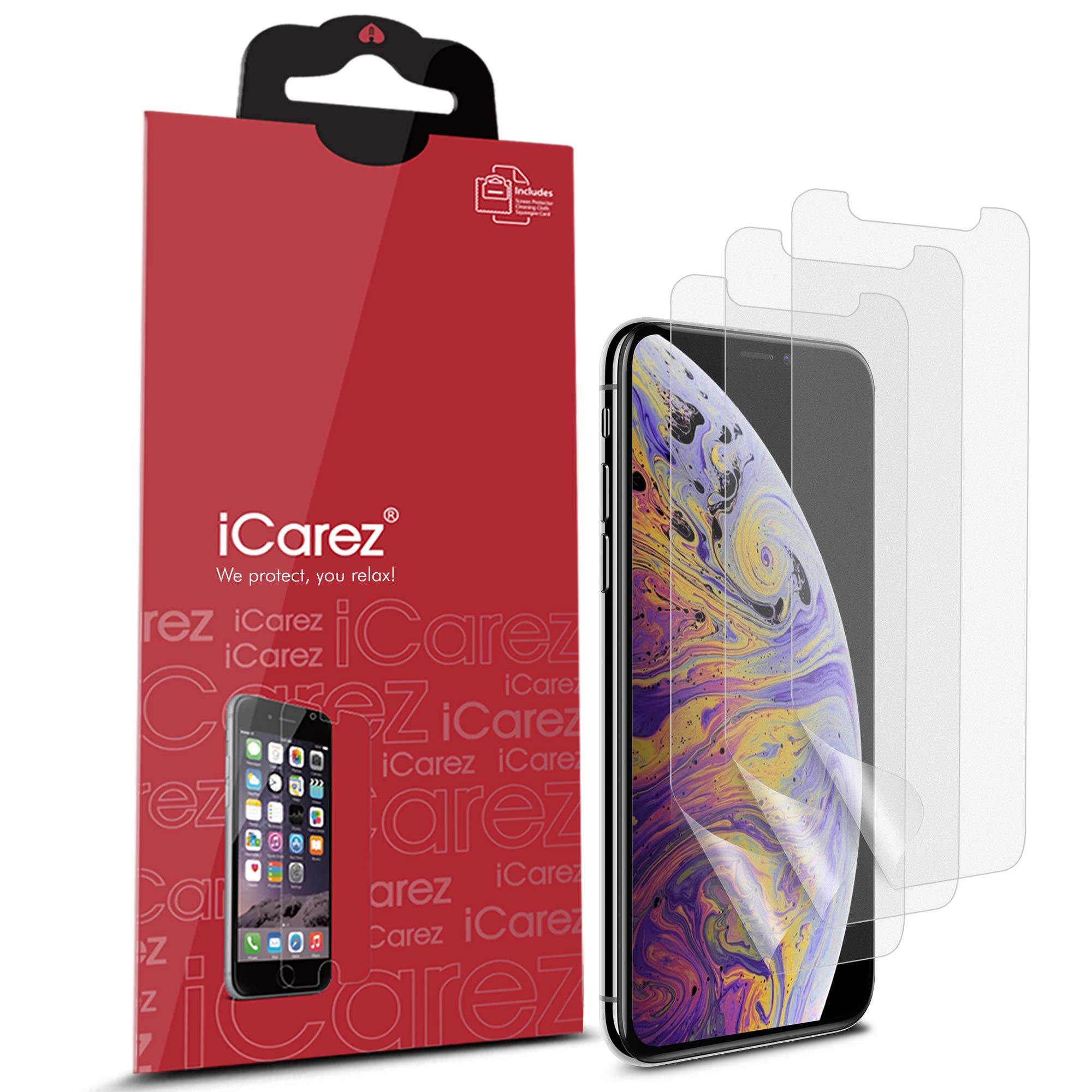 iCarez [HD Anti Glare] Matte Screen Protector for iPhone 11 Pro 2019 iPhone Xs iPhone X 5.8-Inch 2018 [3 Pack] (Case Friendly) Premium Quality No Bubble Easy to Install with Hinge Installation