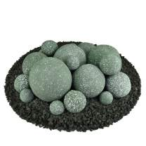Ceramic Fire Balls | Mixed Set of 18 | Modern Accessory for Indoor and Outdoor Fire Pits or Fireplaces – Brushed Concrete Look | Slate Green, Speckled