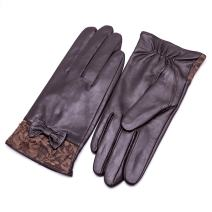 YISEVEN Womens Sheepskin Winter Driving Genuine Leather Gloves Lace Bow Cuff