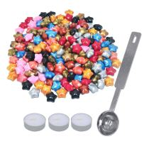 EyreLife Sealing Wax Beads - 120 Pieces Retro Star Shape Wax Stamp Seal Granule for DIY Wedding Invitation, Greeting Cards with 1 Wax Melting Spoon and 3 Candles (Multicolor)