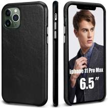 TOOVREN iPhone 11 Pro Max Case,iPhone 11 Pro Max Case Leather Genuine Ultra Slim Shockproof Anti-Scratched Hard Shell Back Cover Leather Case for iPhone 11 Pro Max 6.5 Inch 2019 Black