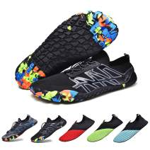 RELANCE Men Water Shoes, Water Socks Barefoot Lacing Quick Dry Non-Slip Aqua Swim Shoes for Pool Beach Surf Walking Water Park Outdoor Sports, KX119