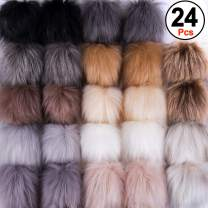 SIQUK 24 Pieces Faux Fur Pom Pom Balls DIY Faux Fox Fur Fluffy Pom Pom with Elastic Loop for Hats Keychains Scarves Gloves Bags Accessories(12 Colors, 2 Pcs for Each Color)