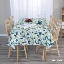 Deconovo Designer Series Water Resistant White Back Rectangle Tablecloth with Dark Blue Blossoms of Flowers Table Cloth 54 x 54 Inch for Kitchen Dining Tabletop Decoration